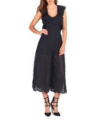 Kendall Kylie Eyelet Ruffled Cotton Jumpsuit Black