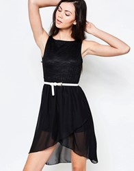 Jasmine Skater Dress With Lace Top Black