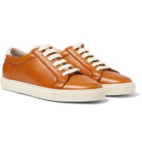 Brunello Cucinelli Suede Trimmed Leather Sneakers Brown