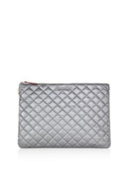 M Z Wallace Metro Quilted Metallic Nylon Pouch Silver