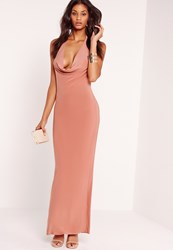 Missguided Slinky Cowl Halter Neck Maxi Dress Pink Pink