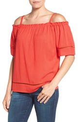 Gibson Women's Ladder Stitch Detail Off The Shoulder Top New Rust