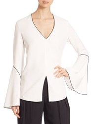 Derek Lam Bell Sleeve Tunic Blouse Silk White