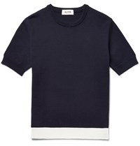 Aloye Contrast Trimmed Knitted Cotton Sweater Blue