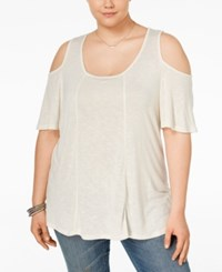 Eyeshadow Plus Size Cold Shoulder Knit Top Pristine