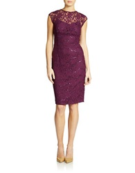 Hailey Logan Lace Overlay Sheath Purple
