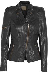 Muubaa Lyra Leather Biker Jacket Black
