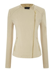 Andrew Marc New York Pu Jacket With Asymetric Zip Cream