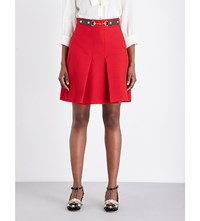 Gucci Pleated High Rise Silk And Wool Blend Skirt Hibiscus Red Brown