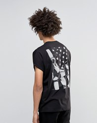Asos Super Oversized T Shirt With Flag Back Print And Roll Sleeve Black