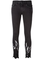 Filles A Papa Tribal Embroidery Cropped Trousers Black