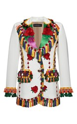 Rossella Jardini Tapestry Embroidered Classic Jacket White Green Yellow