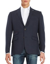 Ted Baker Plaid Two Button Wool Jacket Blue