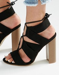 New Look Lace Up Block Sandal Black