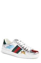 Gucci Men's 'New Ace Emojis' Sneaker With Genuine Snakeskin Detail Silver Leather