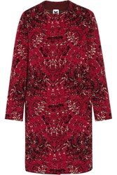 M Missoni Jacquard Knit Wool Blend Coat Red