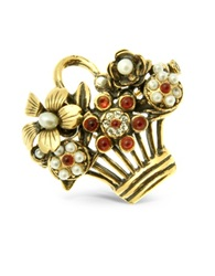 Alcozer And J Flower Bouquet Brooch Gold