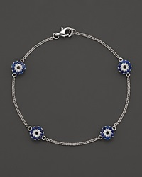 Bloomingdale's Diamond And Sapphire Evil Eye Station Bracelet In 14K White Gold Multi