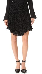 Yigal Azrouel Bell Flower Garden Ruffle Skirt Black