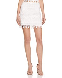 Aqua Geometric Lace Mini Skirt White