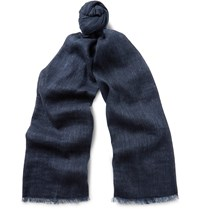 Loro Piana Dorset Linen And Baby Cashmere Blend Scarf Blue
