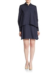 Derek Lam Long Sleeve Cotton Shirtdress Midnight