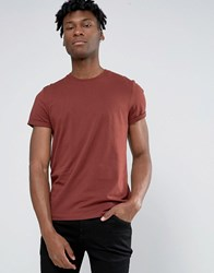Asos T Shirt With Roll Sleeve In Red Hot Spice