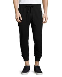 Michael Kors Leather Trim Knit Sweatpants Black