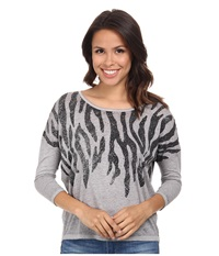 Rock And Roll Cowgirl 3 4 Sleeve Knit 46 3362 Ash Women's Clothing Gray