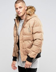 11 Degrees Padded Jacket With Faux Fur Collar Beige