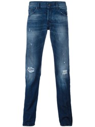 Dondup Washed Tapered Jeans Blue