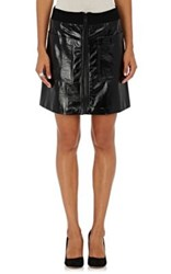 Lisa Perry Women's Leather A Line Miniskirt Black