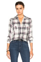 Paige Denim Mya Top In Gray Purple Checkered And Plaid
