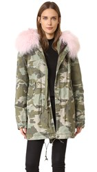 Mr And Mrs Italy Camo Coat With Fur Trim