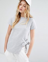 Daisy Street T Shirt With Tie Side Detail Grey Marl