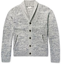 Club Monaco Shawl Collar Marl Cotton Cardigan Blue