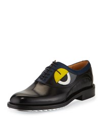 Fendi Monster Eye Leather Silver Bottom Lace Up Derby Shoe Black