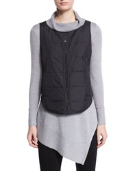 Eileen Fisher Classic Puffer Round Neck Vest Women's Black