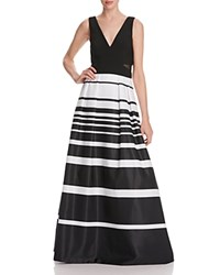 Avery G Striped Skirt Gown Black White