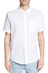 Men's Ezekiel 'Check It' Regular Fit Print Short Sleeve Woven Shirt White
