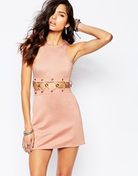 The Laden Showroom X Rok And Rebelle Mini Dress With Lace Up Detail Nude