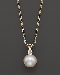 Bloomingdale's Cultured Freshwater Pearl And Diamond Pendant Necklace In 14K Yellow Gold 16 No Color