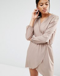 Love Long Sleeve Wrap Dress Camel Brown