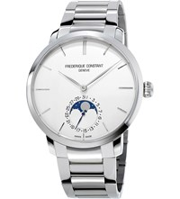 Frederique Constant Fc 705S4s6b2 Moonphase Sterling Silver Watch White