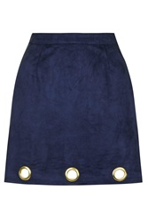 Faux Suede Mini Skirt By Rare Navy Blue