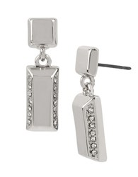 Kenneth Cole Square And Rectangle Drop Earrings Silver
