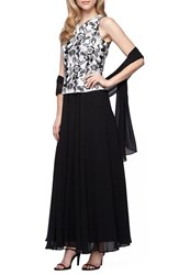 Alex Evenings Women's Embroidered Chiffon Gown And Shawl