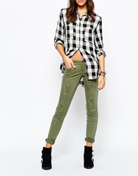 Only All Over Distressed Cargo Jean Khaki