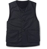 Engineered Garments Garment Melton Reverible Riptop And Wool Gilet Navy