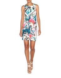 Nicole Miller Sleeveless Printed Sheath Dress White Multi